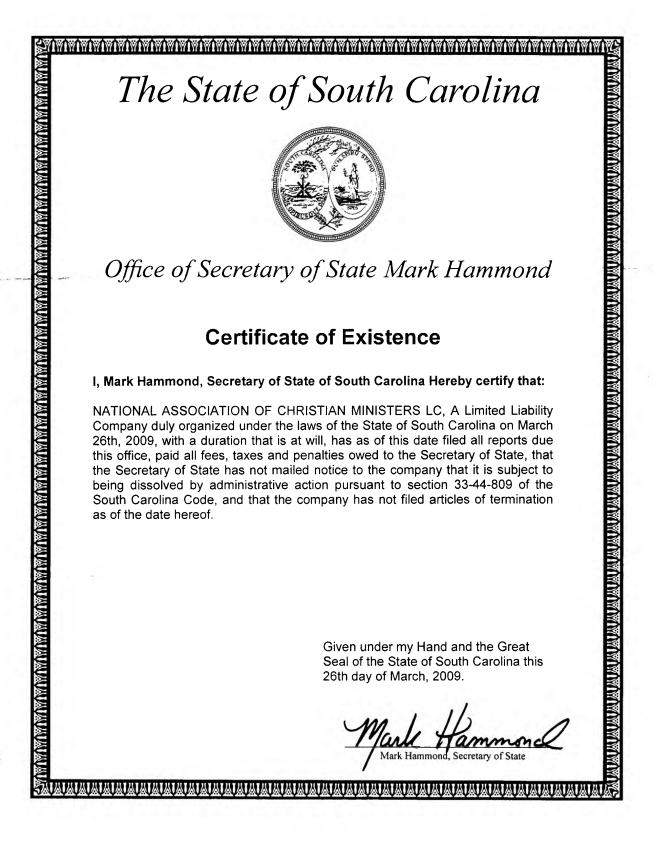 NACM Legal Existance